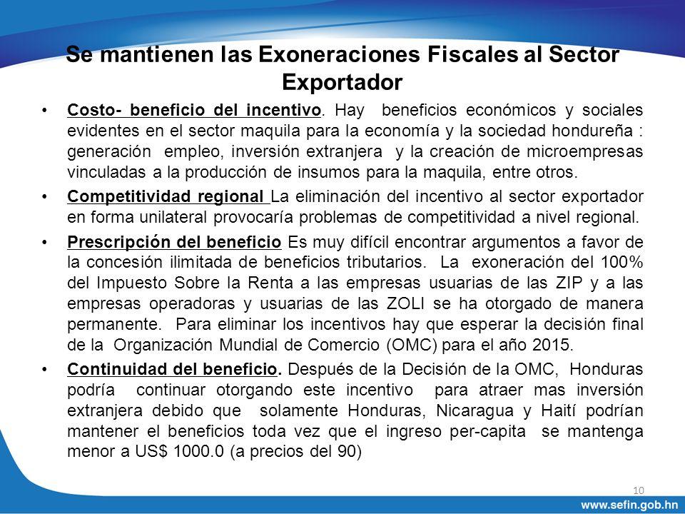 Se mantienen las Exoneraciones Fiscales al Sector Exportador Costo- beneficio del incentivo. Hay beneficios económicos y sociales evidentes en el sect
