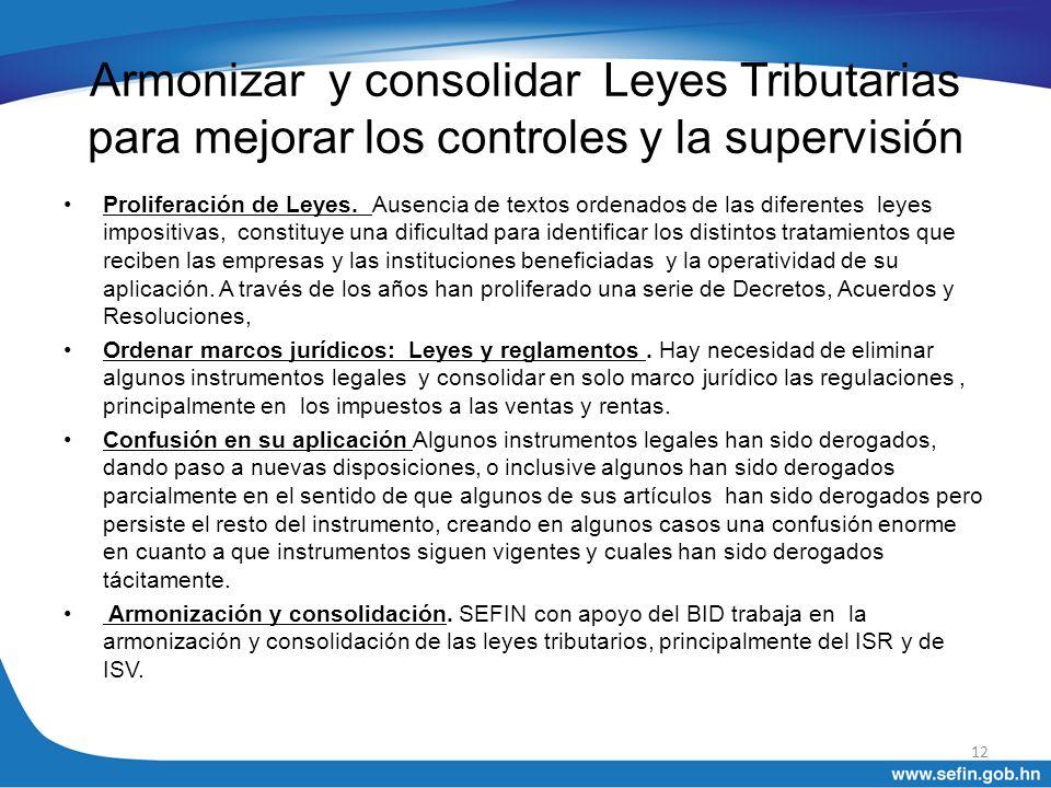 Armonizar y consolidar Leyes Tributarias para mejorar los controles y la supervisión Proliferación de Leyes. Ausencia de textos ordenados de las difer