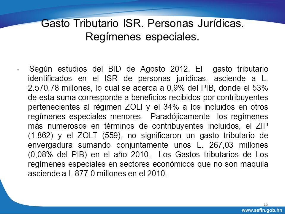 Gasto Tributario ISR. Personas Jurídicas. Regímenes especiales. Según estudios del BID de Agosto 2012. El gasto tributario identificados en el ISR de