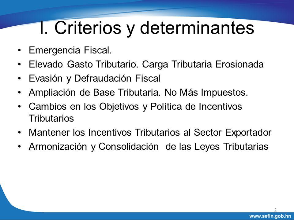 I. Criterios y determinantes Emergencia Fiscal. Elevado Gasto Tributario. Carga Tributaria Erosionada Evasión y Defraudación Fiscal Ampliación de Base