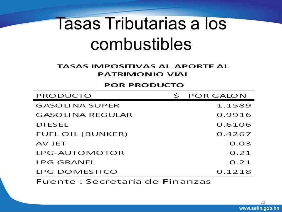 Tasas Tributarias a los combustibles 22