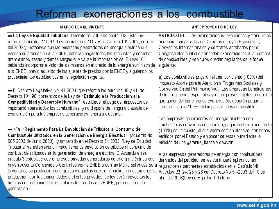 Reforma exoneraciones a los combustible 27
