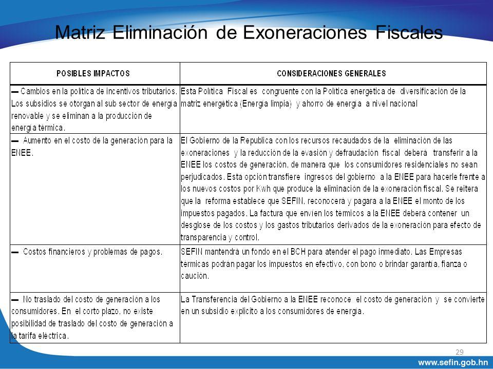 Matriz Eliminación de Exoneraciones Fiscales 29