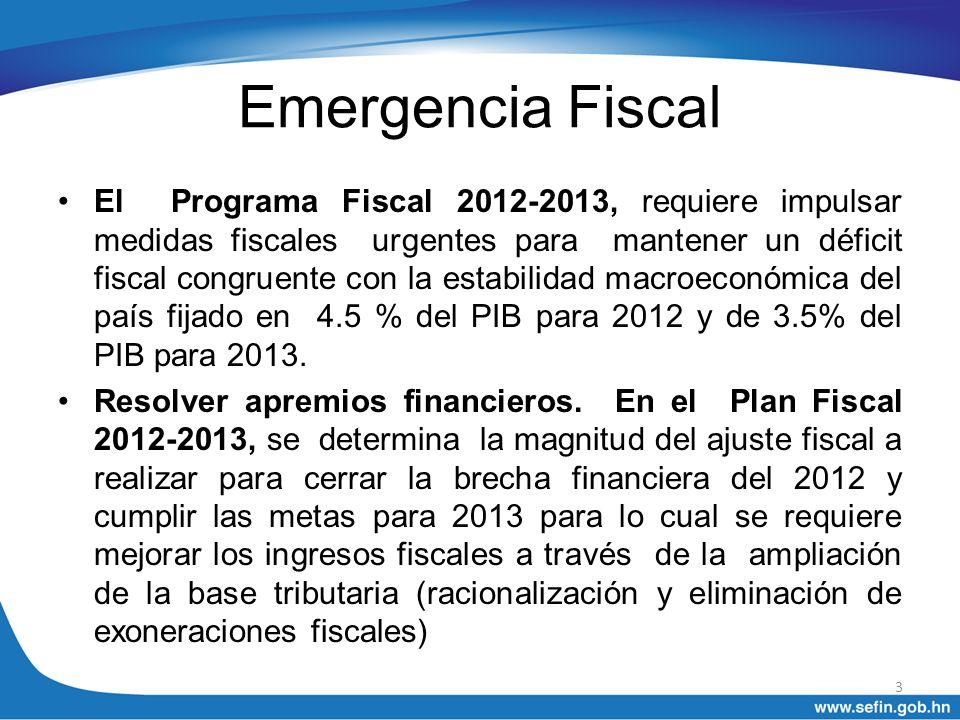 Emergencia Fiscal El Programa Fiscal 2012-2013, requiere impulsar medidas fiscales urgentes para mantener un déficit fiscal congruente con la estabili