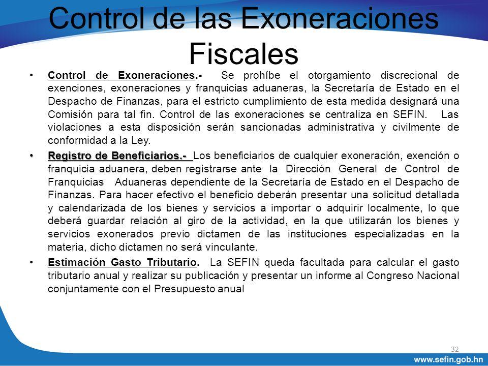 Control de las Exoneraciones Fiscales Control de Exoneraciones.- Se prohíbe el otorgamiento discrecional de exenciones, exoneraciones y franquicias ad