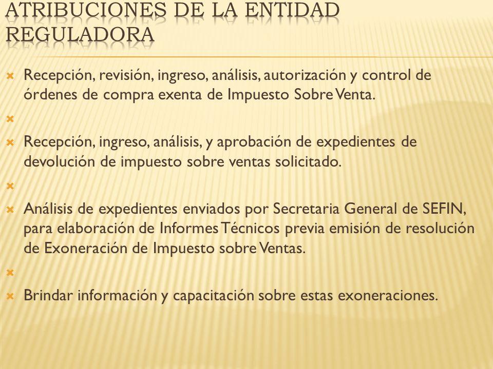 Recepción, revisión, ingreso, análisis, autorización y control de órdenes de compra exenta de Impuesto Sobre Venta. Recepción, ingreso, análisis, y ap