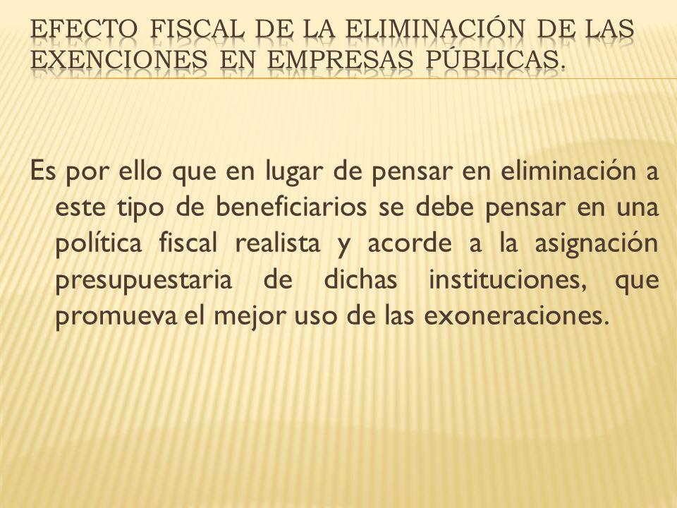 Es por ello que en lugar de pensar en eliminación a este tipo de beneficiarios se debe pensar en una política fiscal realista y acorde a la asignación