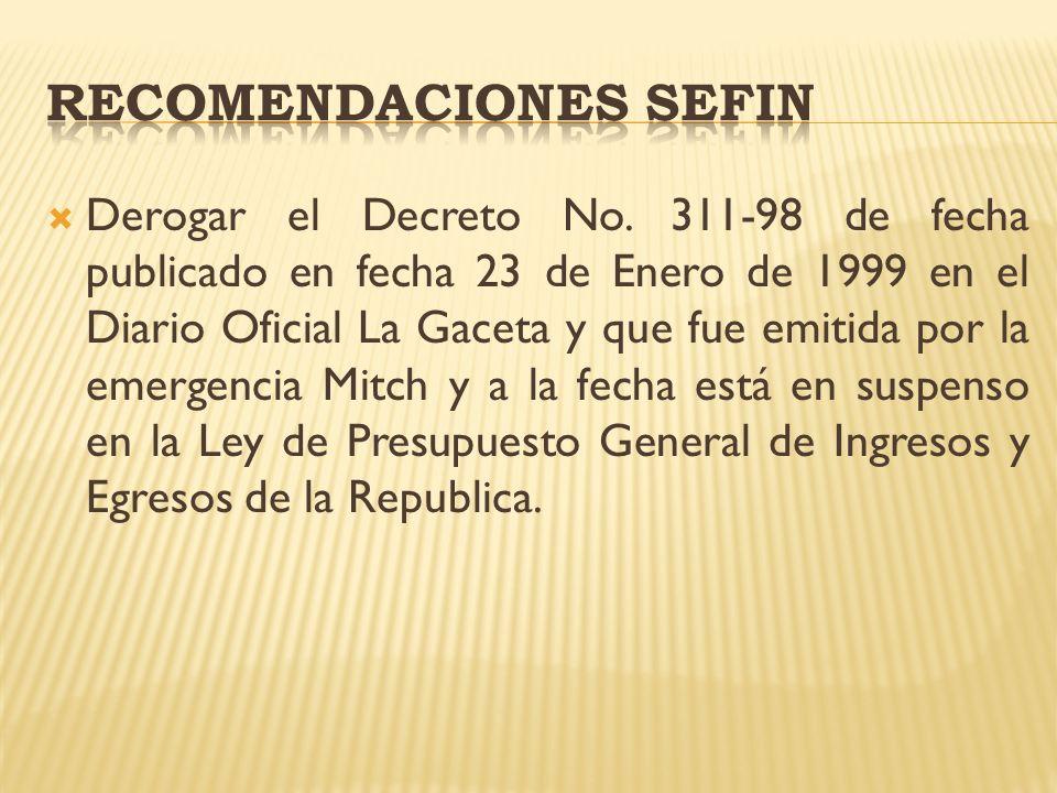 Derogar el Decreto No. 311-98 de fecha publicado en fecha 23 de Enero de 1999 en el Diario Oficial La Gaceta y que fue emitida por la emergencia Mitch