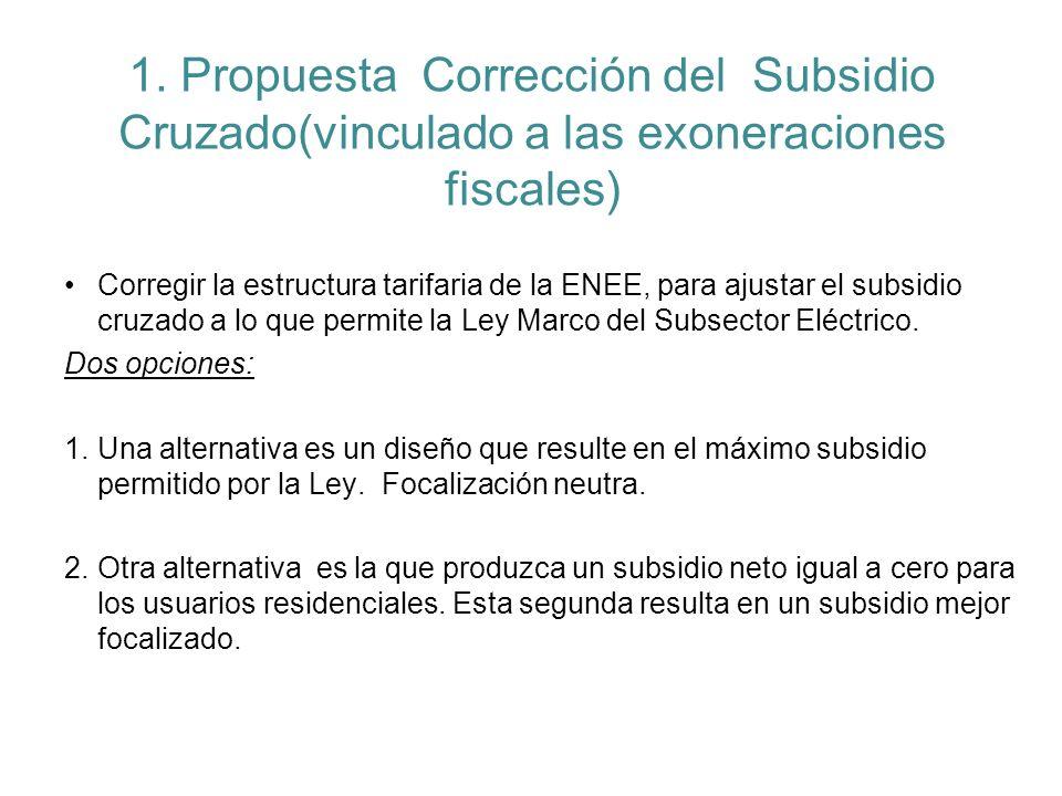 1. Propuesta Corrección del Subsidio Cruzado(vinculado a las exoneraciones fiscales) Corregir la estructura tarifaria de la ENEE, para ajustar el subs