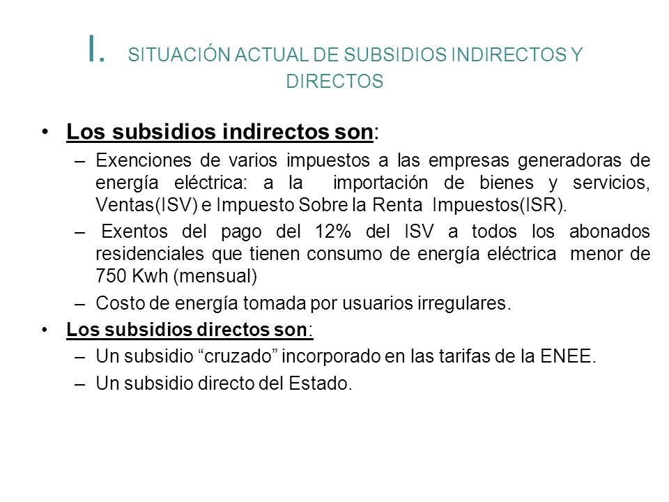 I. SITUACIÓN ACTUAL DE SUBSIDIOS INDIRECTOS Y DIRECTOS Los subsidios indirectos son: –Exenciones de varios impuestos a las empresas generadoras de ene