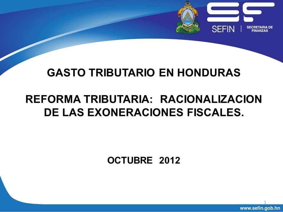 GASTO TRIBUTARIO EN HONDURAS I.POR QUE RACIONALIZAR LAS EXONERACIONES FISCALES II.