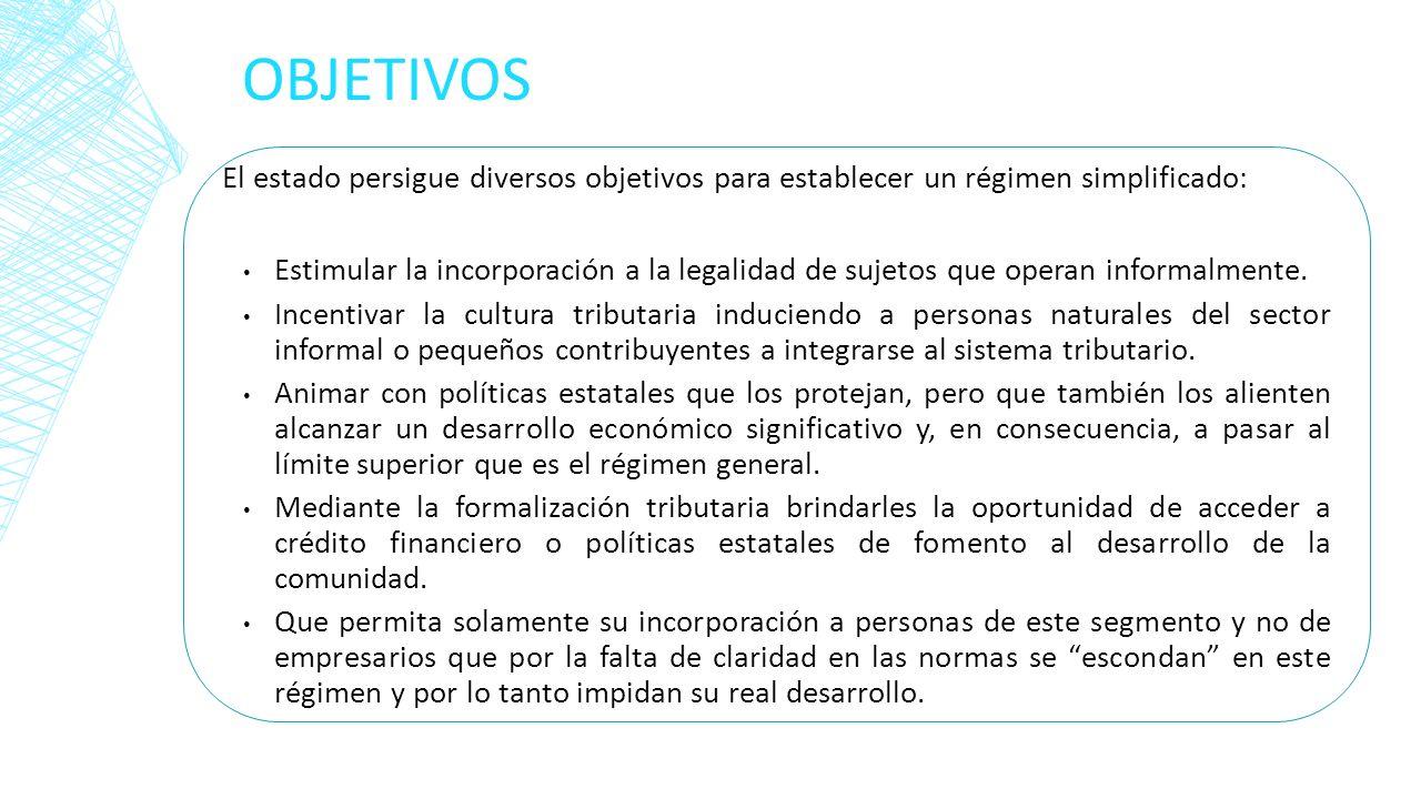 OBJETIVOS El estado persigue diversos objetivos para establecer un régimen simplificado: Estimular la incorporación a la legalidad de sujetos que oper