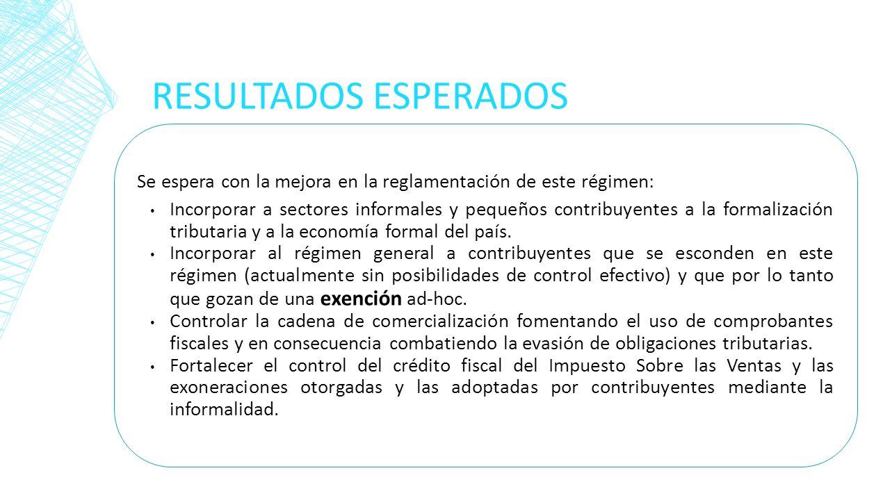 RESULTADOS ESPERADOS Se espera con la mejora en la reglamentación de este régimen: Incorporar a sectores informales y pequeños contribuyentes a la for
