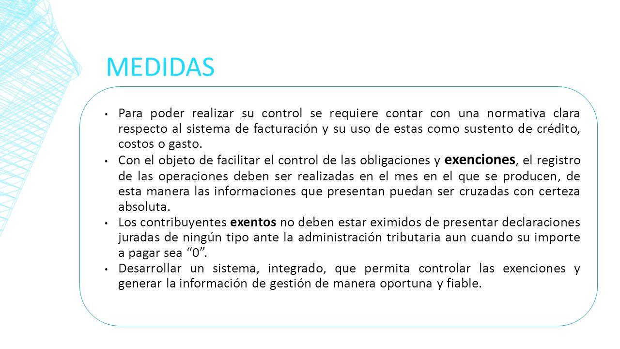MEDIDAS Para poder realizar su control se requiere contar con una normativa clara respecto al sistema de facturación y su uso de estas como sustento d