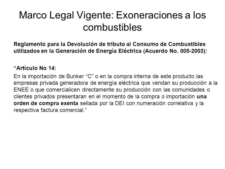 Marco Legal Vigente: Exoneraciones a los combustibles Reglamento para la Devolución de tributo al Consumo de Combustibles utilizados en la Generación de Energía Eléctrica (Acuerdo No.