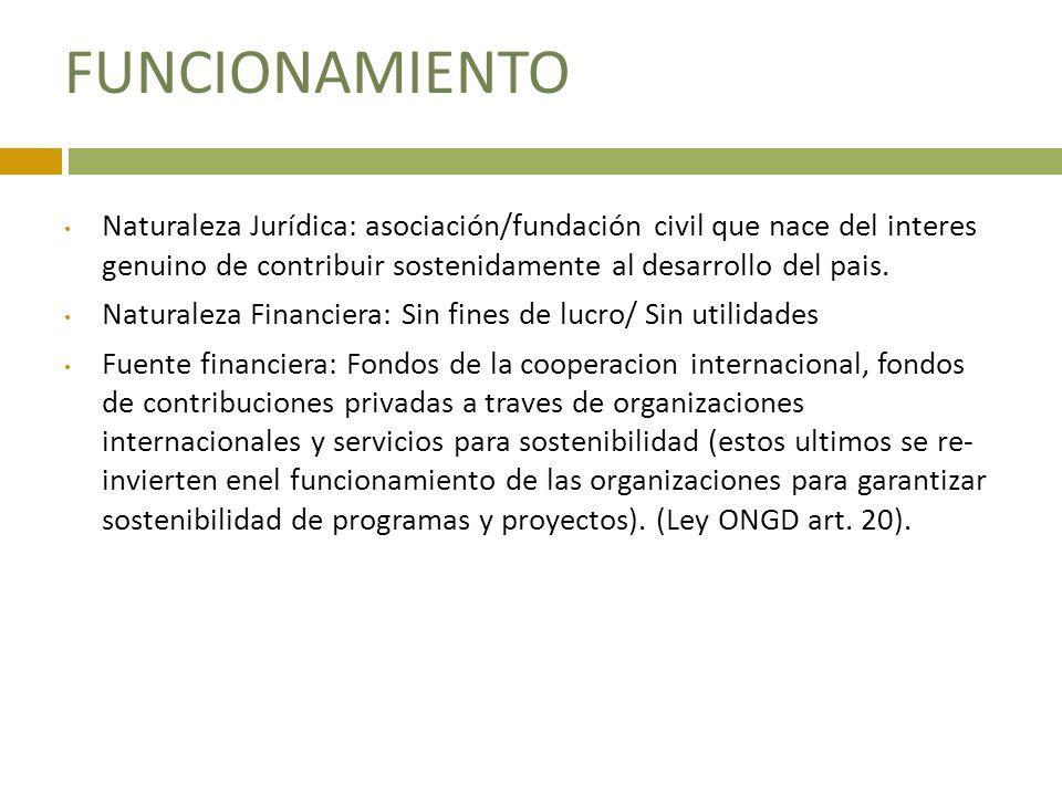 FUNCIONAMIENTO Naturaleza Jurídica: asociación/fundación civil que nace del interes genuino de contribuir sostenidamente al desarrollo del pais.