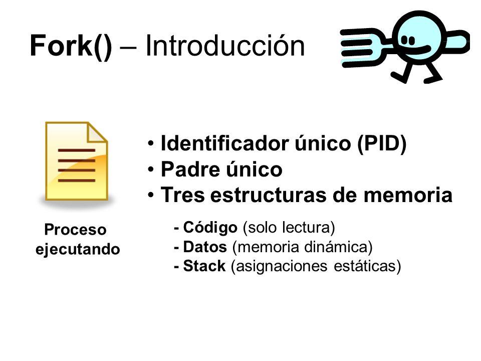 Fork() – Introducción Proceso ejecutando - Código (solo lectura) - Datos (memoria dinámica) - Stack (asignaciones estáticas) Identificador único (PID) Padre único Tres estructuras de memoria
