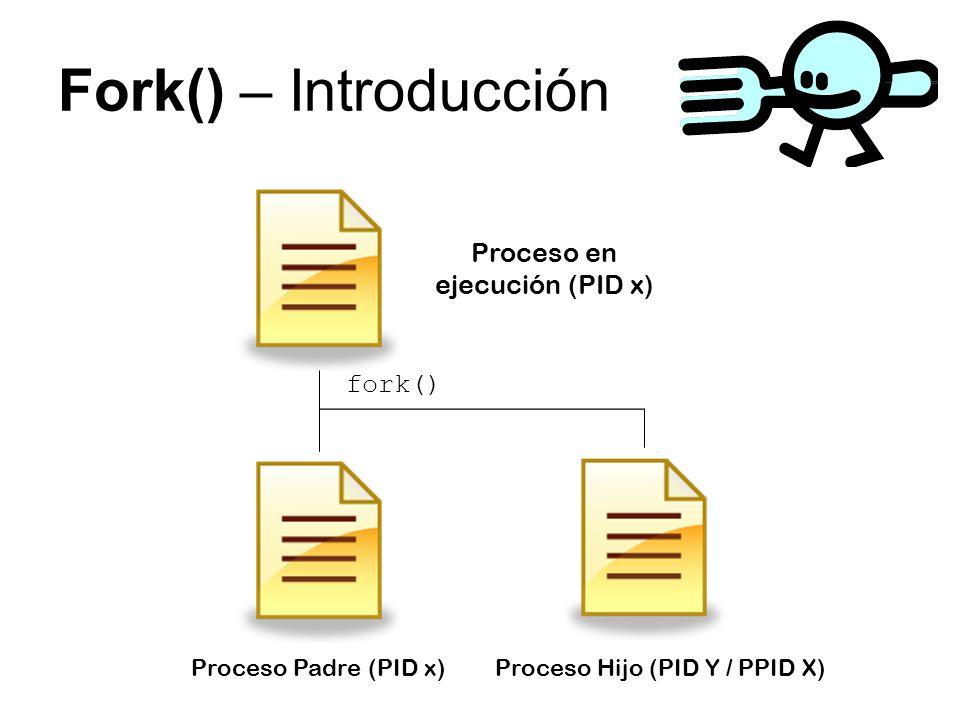 Fork() – Introducción fork() Proceso en ejecución (PID x) Proceso Padre (PID x)Proceso Hijo (PID Y / PPID X)