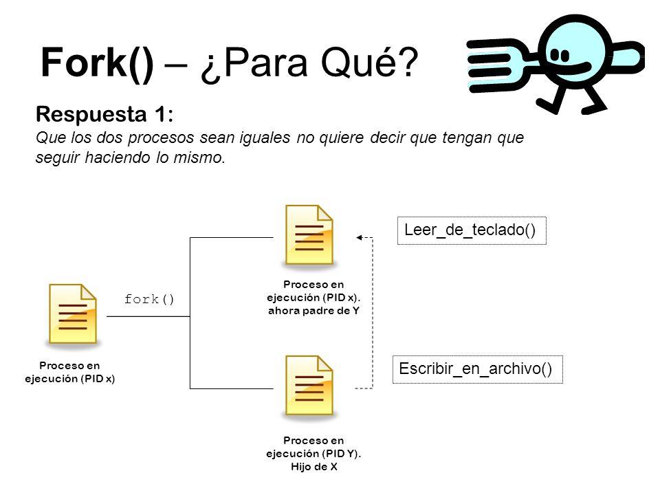 Fork() – ¿Para Qué? Respuesta 1: Que los dos procesos sean iguales no quiere decir que tengan que seguir haciendo lo mismo. fork() Proceso en ejecució