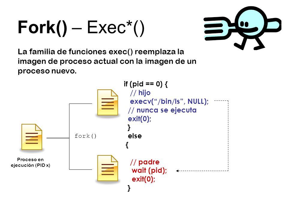 Fork() – Exec*() La familia de funciones exec() reemplaza la imagen de proceso actual con la imagen de un proceso nuevo. fork() Proceso en ejecución (