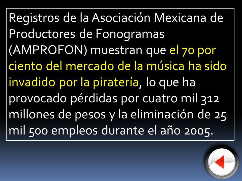 Registros de la Asociación Mexicana de Productores de Fonogramas (AMPROFON) muestran que el 70 por ciento del mercado de la música ha sido invadido po