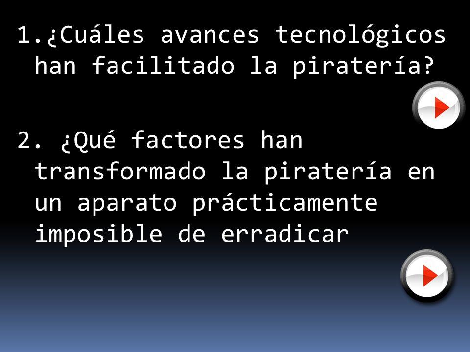 1.¿Cuáles avances tecnológicos han facilitado la piratería?¿Cuáles avances tecnológicos han facilitado la piratería? 2. ¿Qué factores han transformado