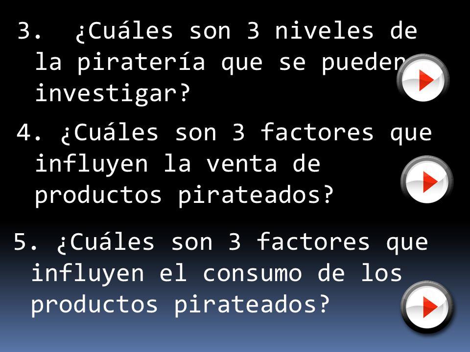 3. ¿Cuáles son 3 niveles de la piratería que se pueden investigar? 4. ¿Cuáles son 3 factores que influyen la venta de productos pirateados? 5. ¿Cuáles