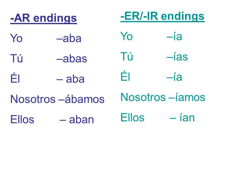 -AR endings Yo –aba Tú –abas Él – aba Nosotros –ábamos Ellos – aban -ER/-IR endings Yo –ía Tú –ías Él –ía Nosotros –íamos Ellos – ían