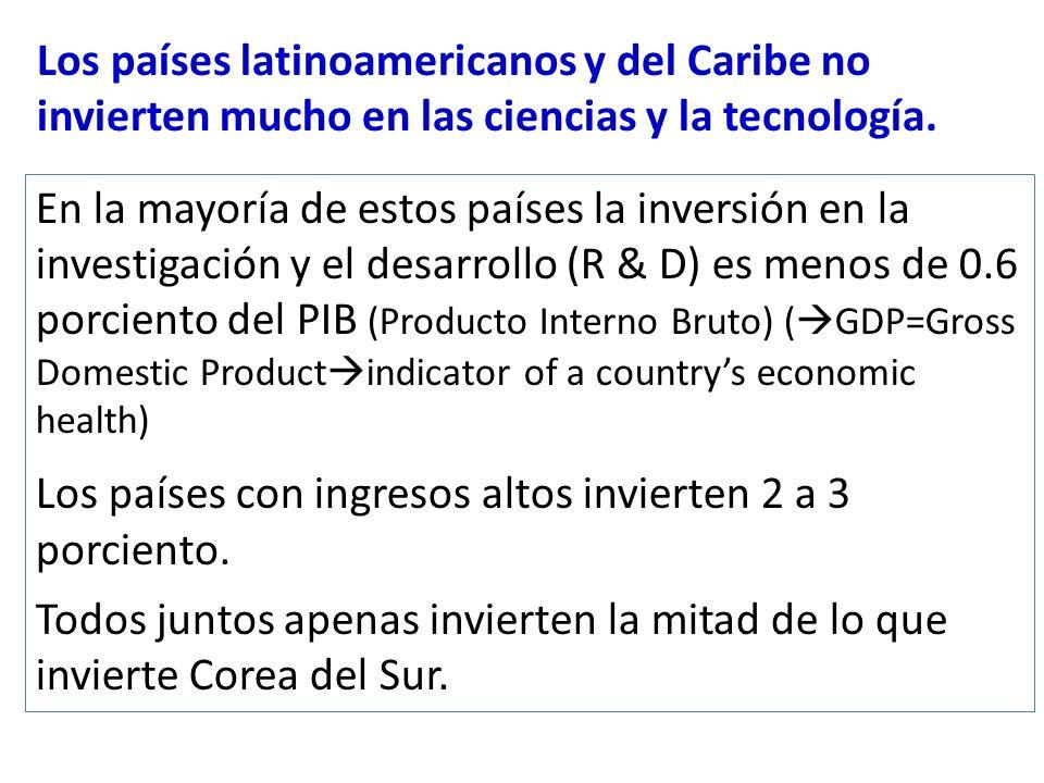 Los países latinoamericanos y del Caribe no invierten mucho en las ciencias y la tecnología. En la mayoría de estos países la inversión en la investig