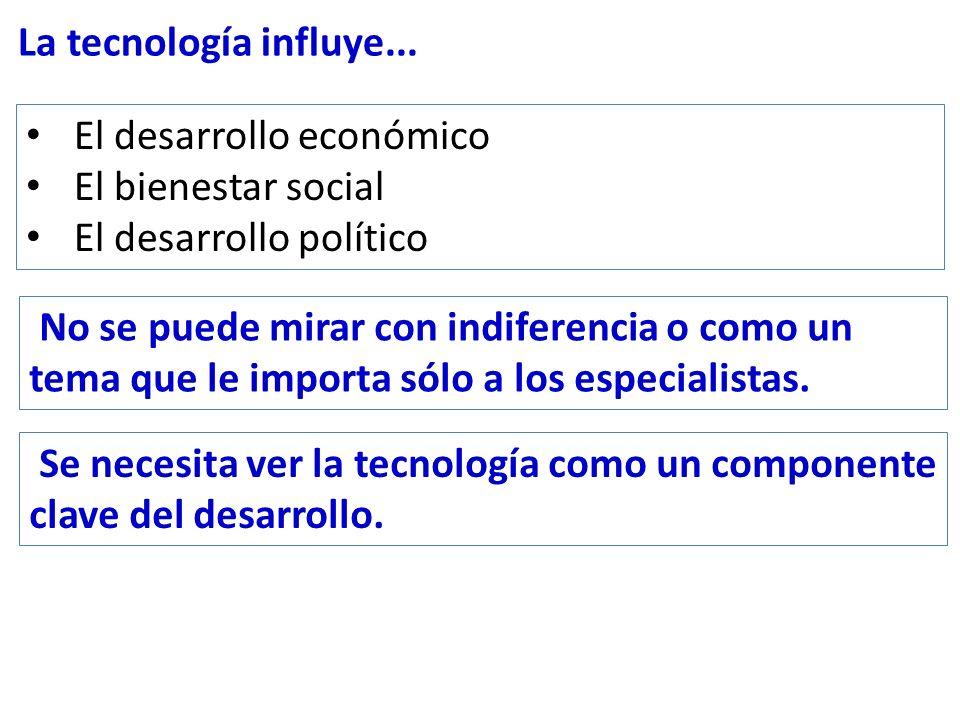La tecnología influye... El desarrollo económico El bienestar social El desarrollo político No se puede mirar con indiferencia o como un tema que le i