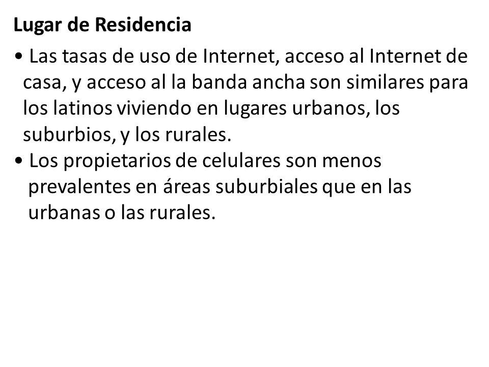 Las tasas de uso de Internet, acceso al Internet de casa, y acceso al la banda ancha son similares para los latinos viviendo en lugares urbanos, los suburbios, y los rurales.