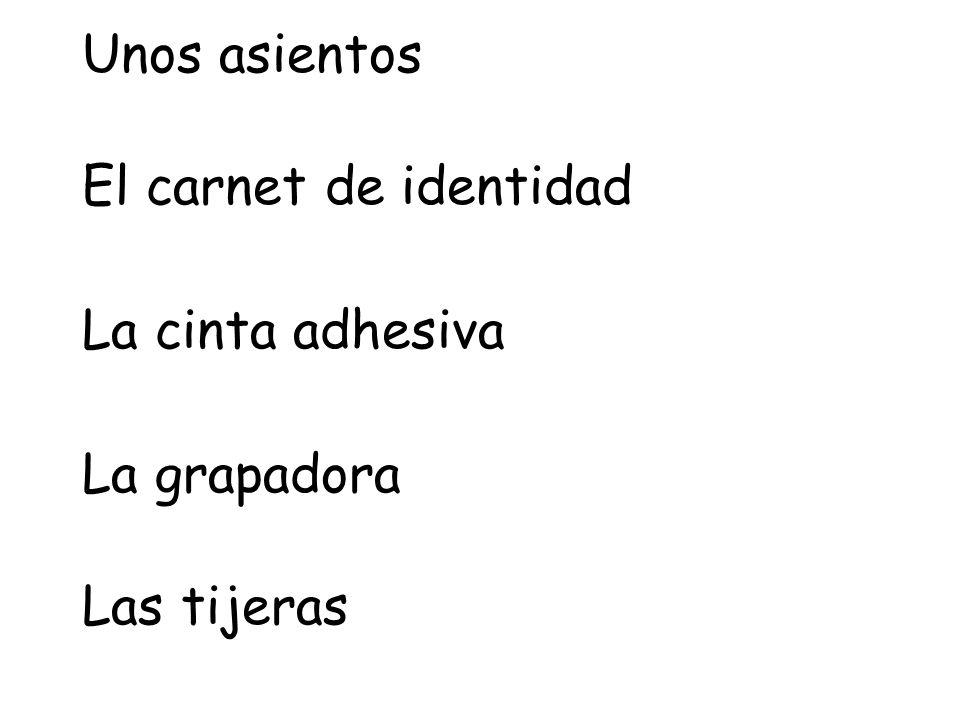 Unos asientos El carnet de identidad La cinta adhesiva La grapadora Las tijeras