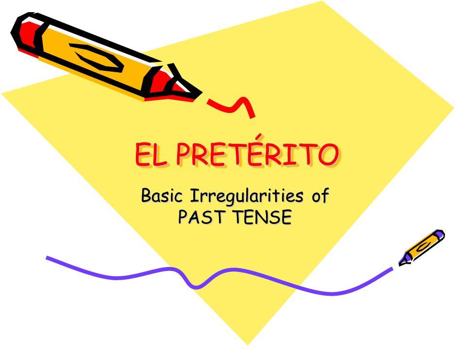 Regular Preterite Verb Endings Sing the Preterit Song For : –ar verbs Yo - é Tú - aste Él- ó Nosotros- amos Ellos - aron For : –er/-ir verbs í iste ió imos ieron