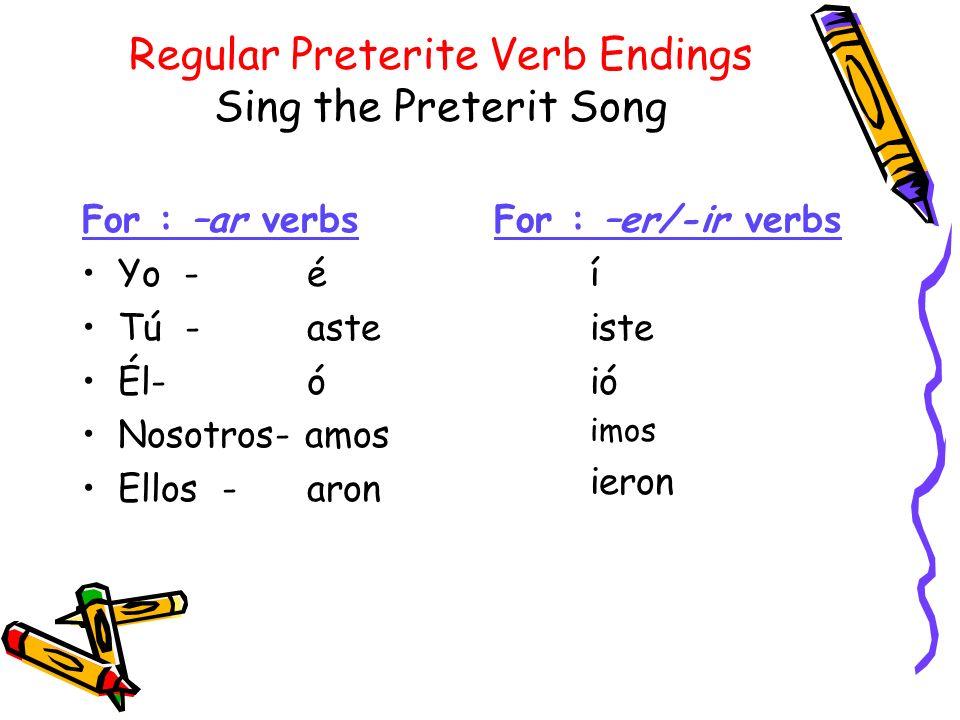 Regular verbs in the preterit have 3 irregularities: 1.-ER/-IR verbs that end in a vowel after you drop the –ER or –IR, like -eer/-aer/huir/oír will change in the: él : ió yó ellos : ieron yeron EX: leer le- yo leínosotros leímos tú leíste él leyóellos leyeron NOTE: An accent is needed on every í (next to strong vowel)