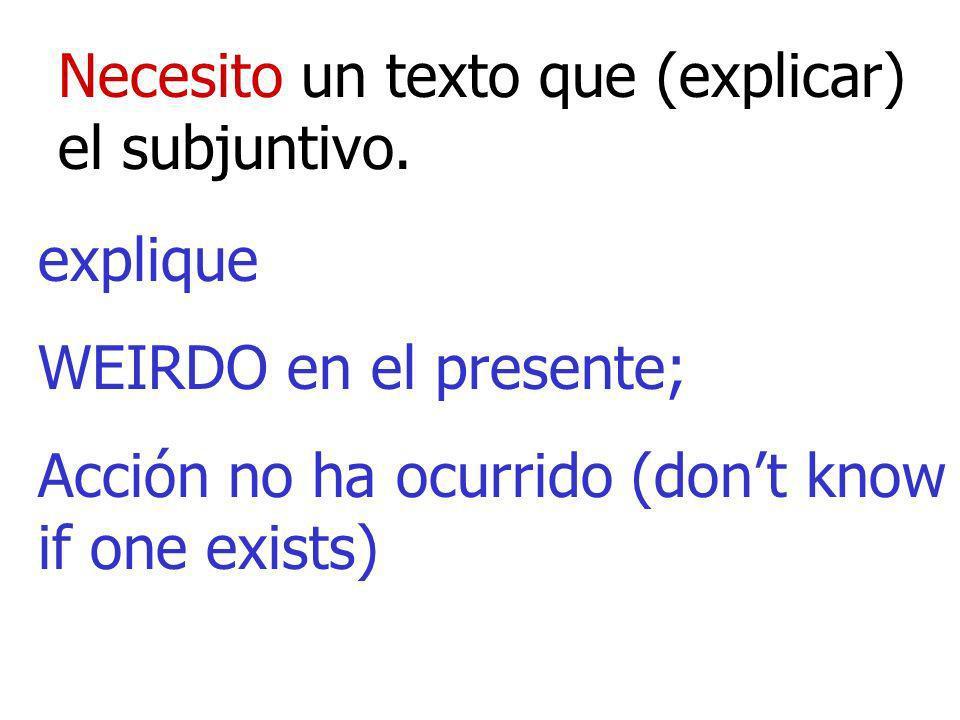 Necesito un texto que (explicar) el subjuntivo. explique WEIRDO en el presente; Acción no ha ocurrido (dont know if one exists)