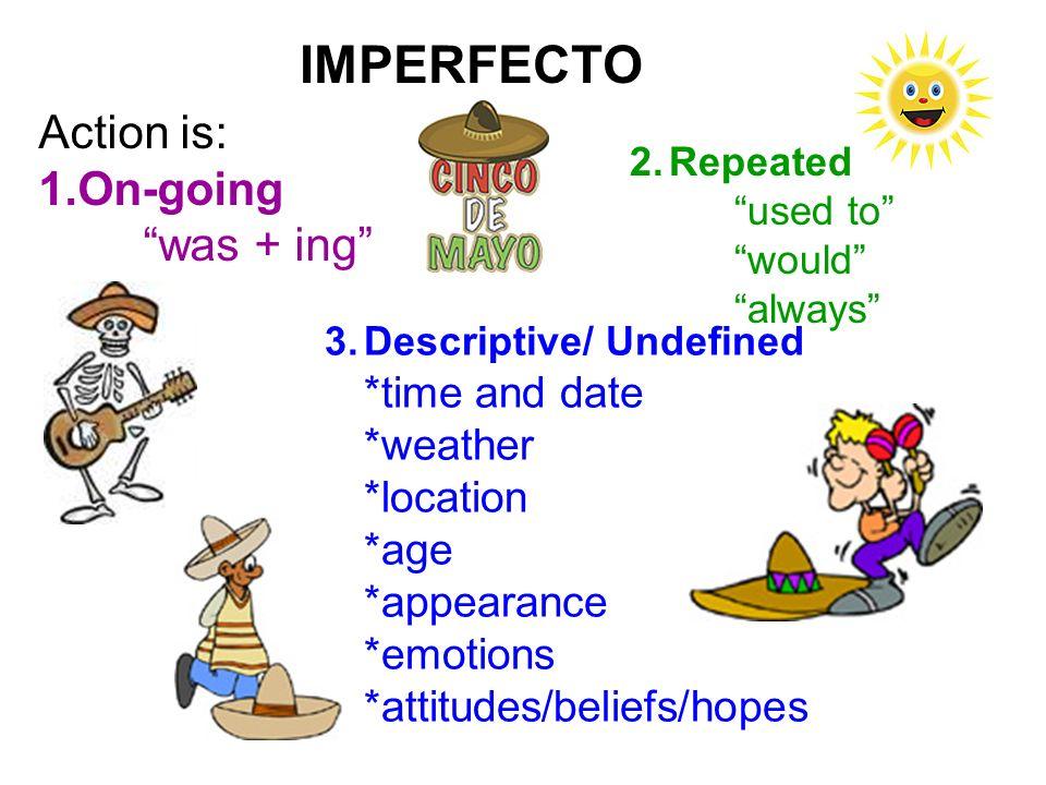 IMPERFECTO 3.Descriptive/ Undefined *time and date *weather *location *age *appearance *emotions *attitudes/beliefs/hopes SER HACER/ ESTAR/ HABER/ LLOVER ESTAR TENER SER/ LLEVAR PUESTO ESTAR PENSAR/ CREER/ ESPERAR