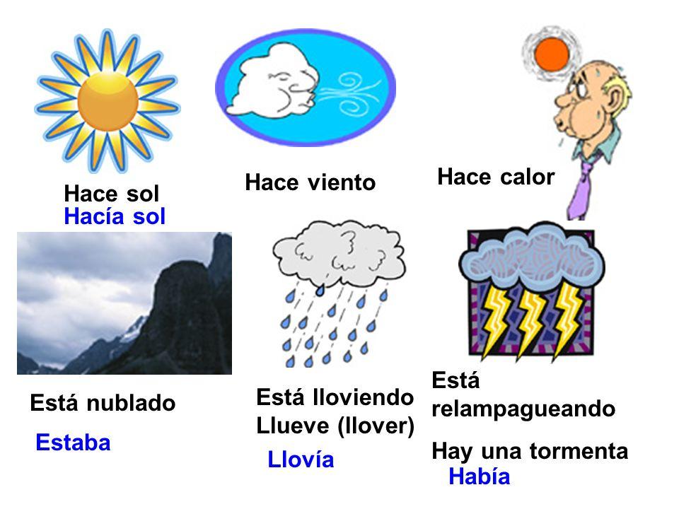 Hace sol Hace viento Hace calor Está nublado Está lloviendo Llueve (llover) Está relampagueando Hay una tormenta Hacía sol Estaba Había Llovía