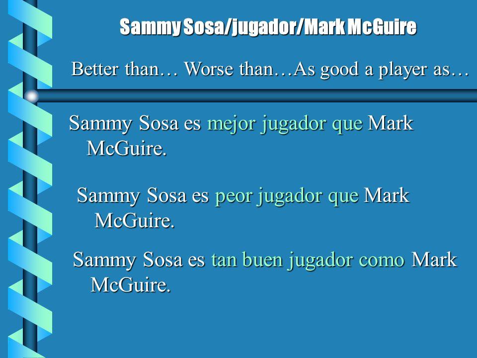 Sammy Sosa es mejor jugador que Mark McGuire. Sammy Sosa/jugador/Mark McGuire Better than… Worse than…As good a player as… Sammy Sosa es peor jugador