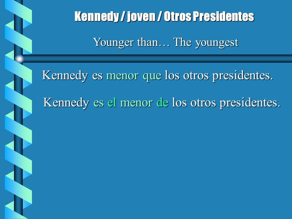 Kennedy es menor que los otros presidentes. Kennedy / joven / Otros Presidentes Younger than… The youngest Kennedy es el menor de los otros presidente