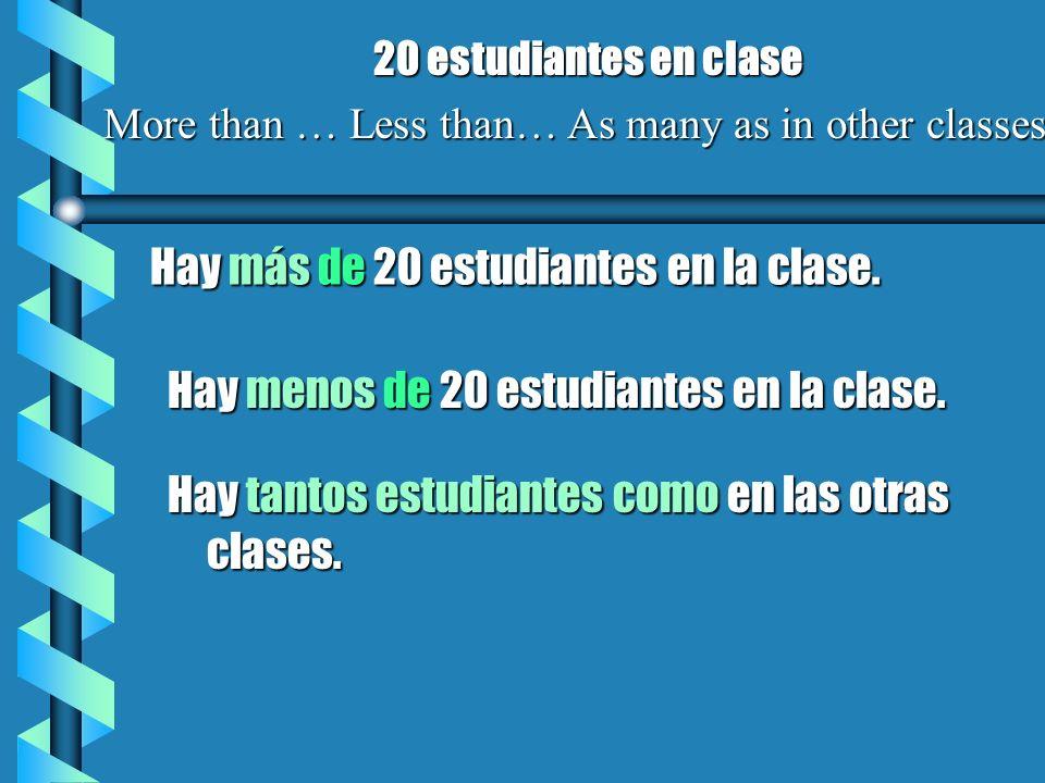Hay más de 20 estudiantes en la clase. 20 estudiantes en clase More than … Less than… As many as in other classes Hay menos de 20 estudiantes en la cl