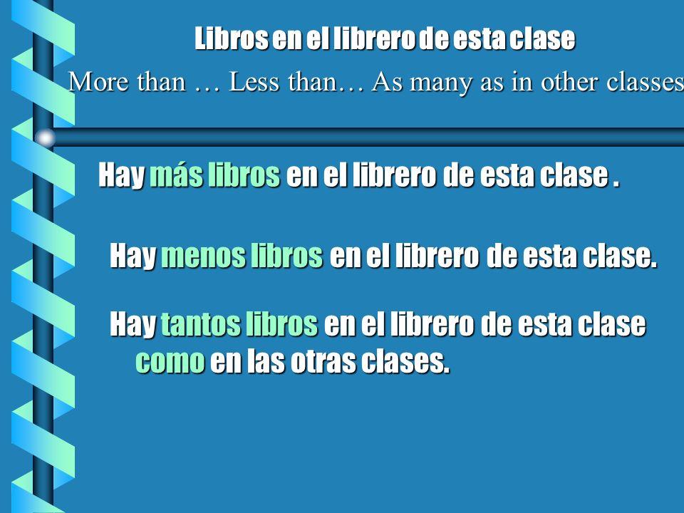 Hay más libros en el librero de esta clase. Libros en el librero de esta clase More than … Less than… As many as in other classes Hay menos libros en