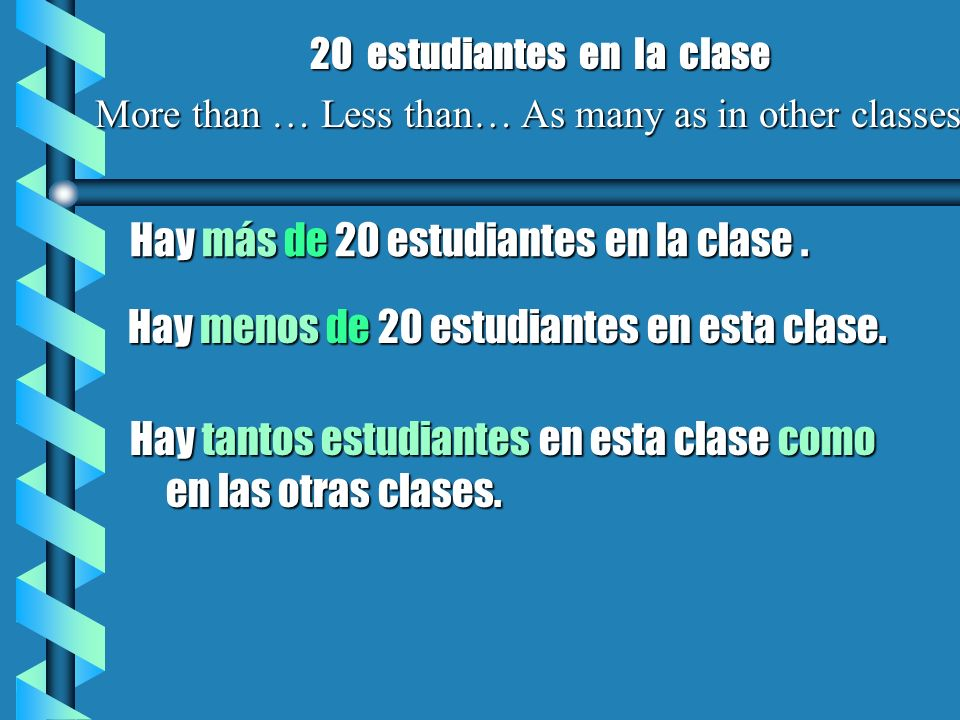More than … Less than… As many as in other classes Hay más de 20 estudiantes en la clase. Hay menos de 20 estudiantes en esta clase. 20 estudiantes en