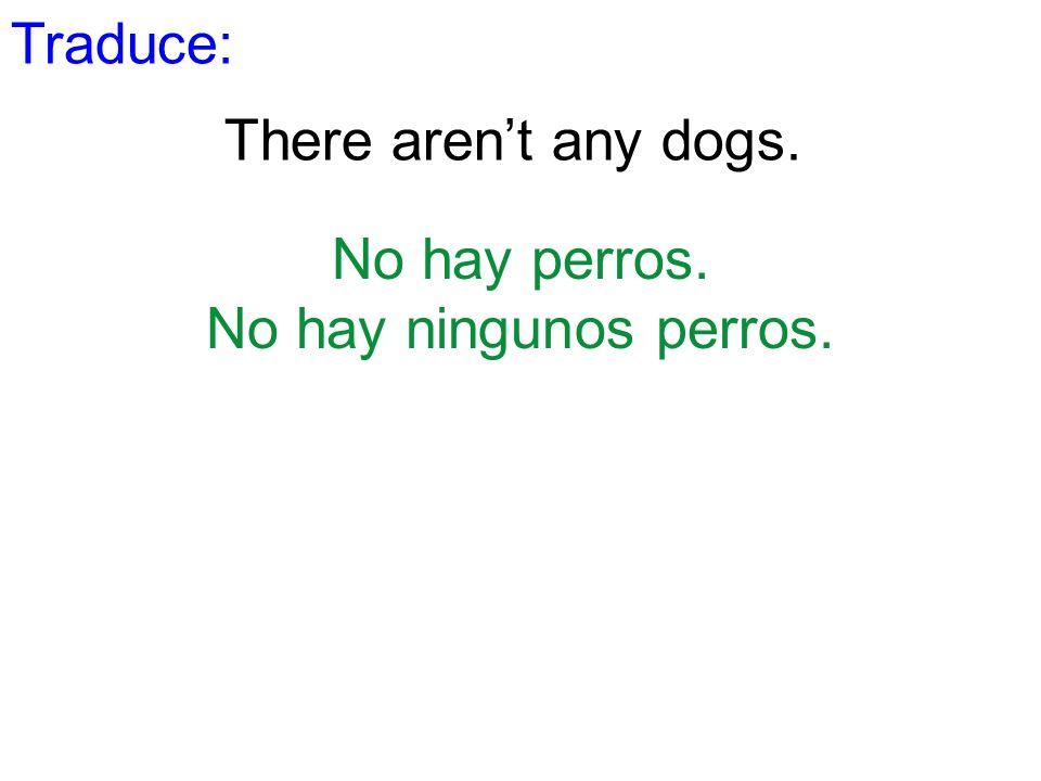 Traduce: There arent any dogs. No hay perros. No hay ningunos perros.