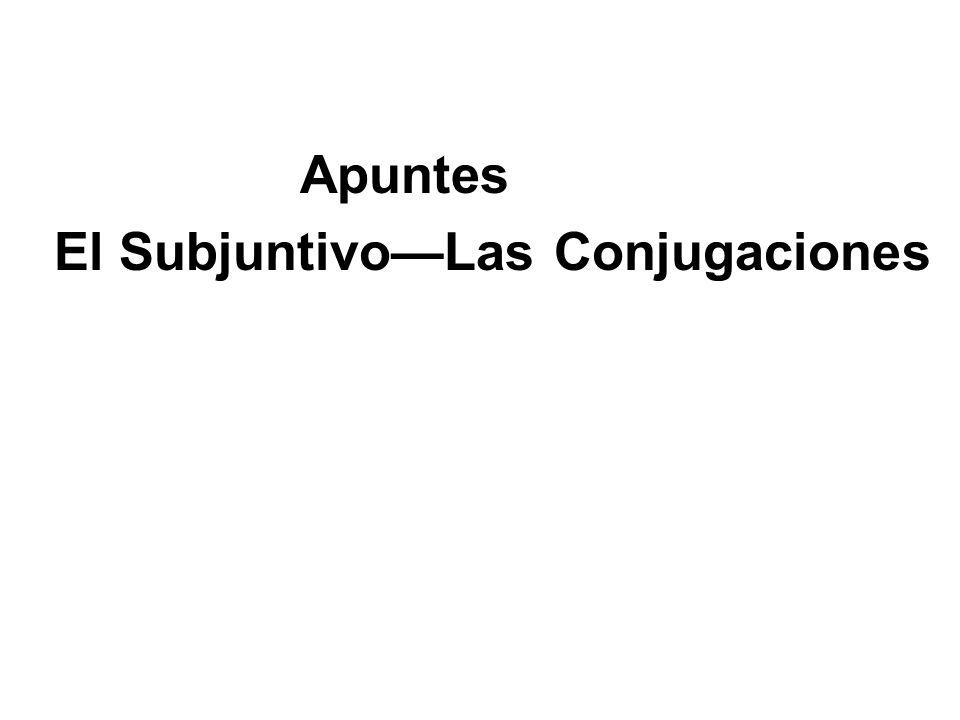 Apuntes El SubjuntivoLas Conjugaciones
