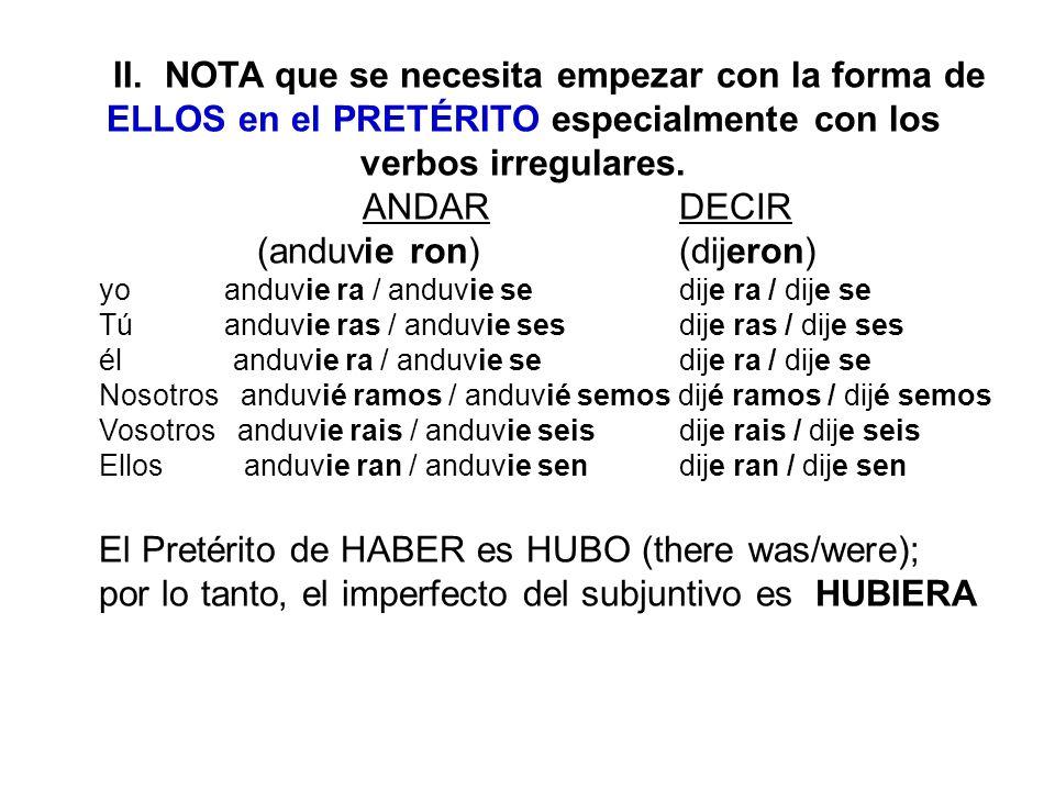 II. NOTA que se necesita empezar con la forma de ELLOS en el PRETÉRITO especialmente con los verbos irregulares. ANDARDECIR (anduvie ron)(dijeron) yo