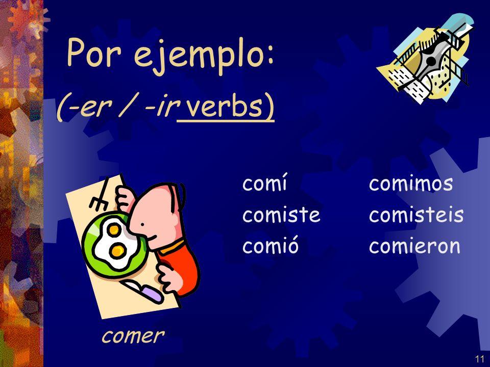 10 (-ar verbs) cerré cerraste cerró cerramos cerrasteis cerraron Por ejemplo: Note: NO stem-change for –ar verbs in the pretérito
