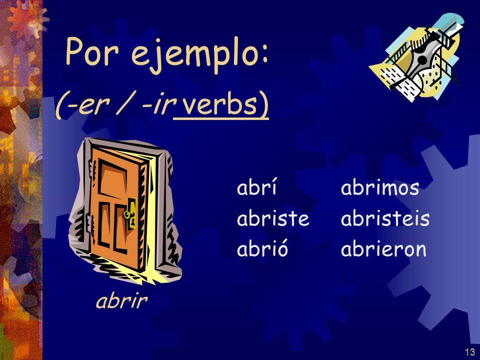 12 (-er / -ir verbs) volví volviste volvió volvimos volvisteis volvieron Por ejemplo: volver Note: NO stem-change for –er verbs in the pretérito
