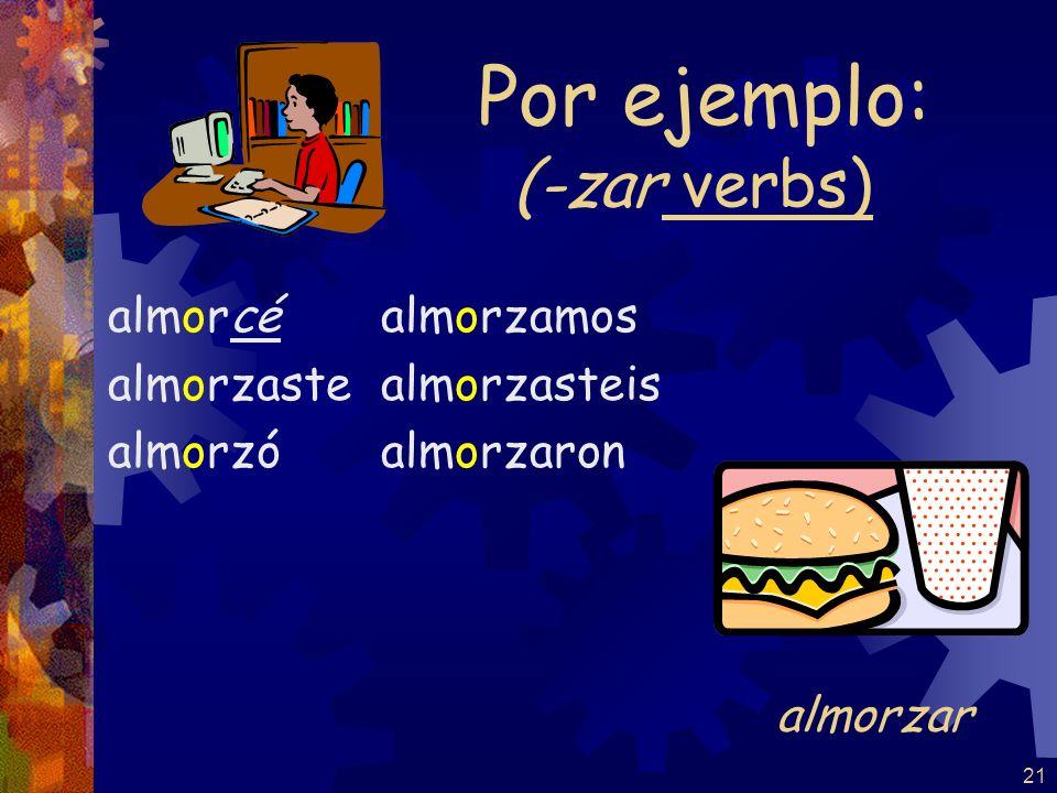 20 (-gar verbs) jugué jugaste jugó jugamos jugasteis jugaron Por ejemplo: jugar Note: NO stem-change for –ar verbs in the pretérito