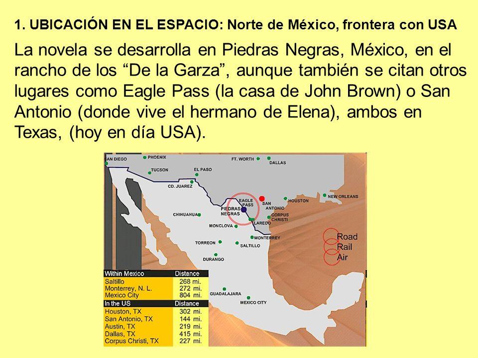 La novela se desarrolla en Piedras Negras, México, en el rancho de los De la Garza, aunque también se citan otros lugares como Eagle Pass (la casa de