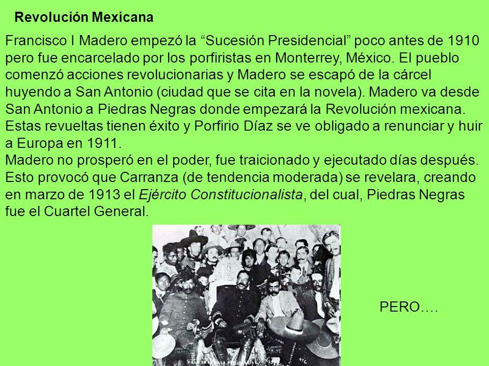 Revolución Mexicana Francisco I Madero empezó la Sucesión Presidencial poco antes de 1910 pero fue encarcelado por los porfiristas en Monterrey, Méxic
